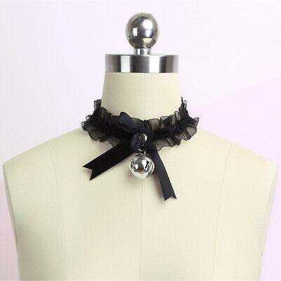 1pc Gothic Sexy Lace Collar Pendant Bow Knot Bell Choker Necklace Women Gifts • 4.65£