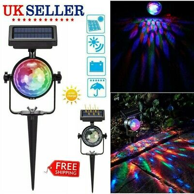 Solar Spot LED Light Colour Changing Projection Stake Garden Party Stage Lamp UK • 9.98£