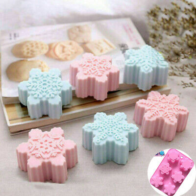 Snowflake Mold Christmas Chocolate Mold Soap Ice Tray Cake Mould Part Craft • 5.99£