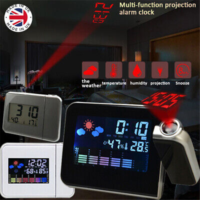LCD Digital LED Projector Projection Weather Station Calendar Snooze Alarm Clock • 8.99£