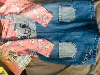 Girls Aristocats Short Dungarees And Top Set 3-4 Years • 1£