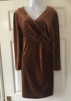 New Marks & Spencer  Copper Velvet  Dress Size  16   Bnwt  £45  • 10.99£