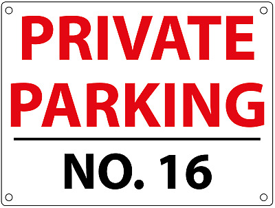 PERSONALISED CUSTOM PRIVATE PARKING SIGN WITH HOUSE NUMBER Metal White • 6.50£