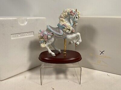Rare Lenox White & Blue Porcelain Carousel Horse Immaculate Condition • 49.99£