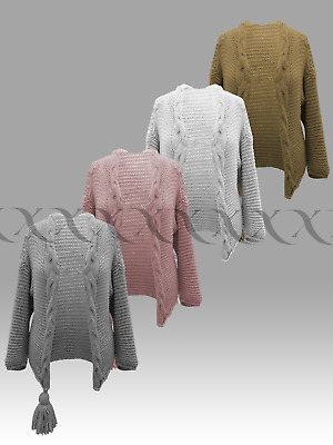 £19.99 • Buy New Ladies Open Cardigan Chunky Cable Knit Throw Over Look Womens Cardi Jacket