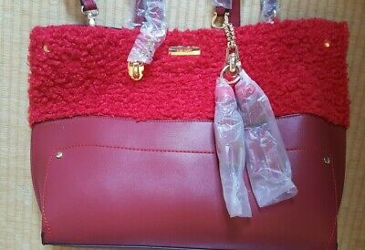 BNWT! RIVER ISLAND Large Tote Bag; Red; Faux Fur+Faux Leather; Golden Metalwork • 19.99£