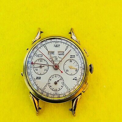 $ CDN894.62 • Buy Vintage Grand Prix Election Chronograph & Triple Date Fancy Lugs Valjoux 72c