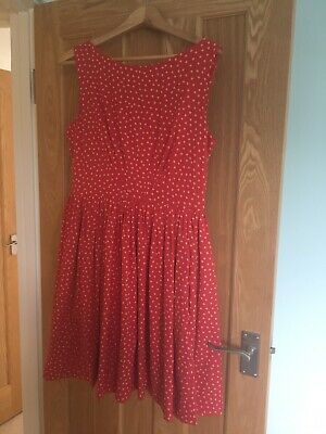 Emily And Fin Red Polka Dot Dress, Size L • 7.50£