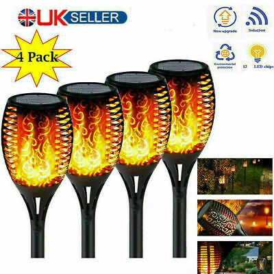 4X Solar Garden Flame Light Flickering LED Torch Lamp Waterproof Landscape Lamp • 13.99£