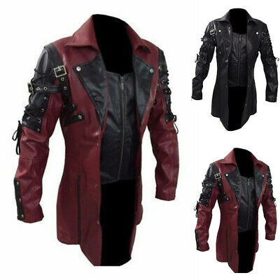 Retro Mens Steampunk Gothic PU Leather Trench Coat Jacket Goth Punk Overcoat • 44.86£