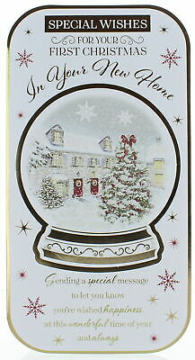 First Christmas In Your New Home Card - Living Room With Tree & Foil 7.5x5.25  • 2.29£