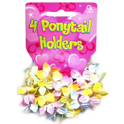 4 Tropical Luau Hula Girl Party Flower Hair Band Ponytail Holders Gifts Favours • 2.49£