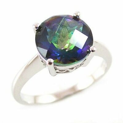 Sterling Silver Ring Blue Mystic Topaz Genuine Gem Round Cut Size S  US 9.25  • 39.99£
