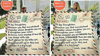 60*80 Inch Personalized Letter To My Daughter Son Plush Pleece Blanket  Gift • 19.89£