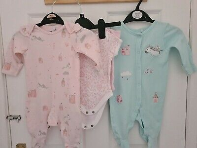 Baby Girls BLUEZOO @ DEBENHAMS  2 X Sleepsuits 2x Vests Pink Size 0  - 3 Months • 3.24£