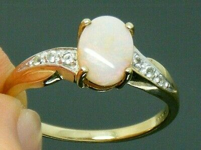 9ct Gold Opal & White Topaz Hallmarked Ring Size N • 125£