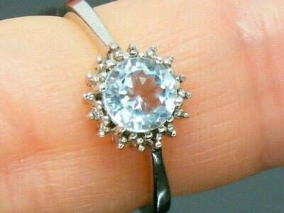 Solid Silver 925 Blue Topaz & Diamond Ring Size M • 29£