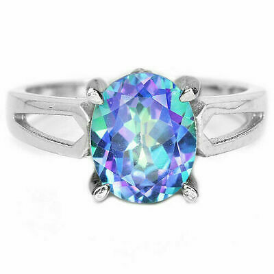 Sterling Silver Ring Blue Mystic Topaz Genuine Gems Oval Faceted Size S  US 9.25 • 49.99£