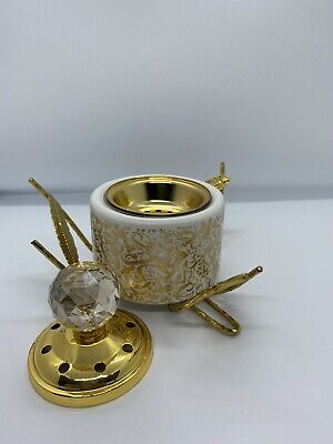 #11 Arabic White Calligraphy Gold Leaf  Burner Bakhoor Incense Oud Holder Round • 20£