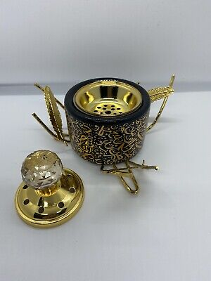 #12 Arabic Black Calligraphy Gold Leaf  Burner Bakhoor Incense Oud Holder Round • 20£