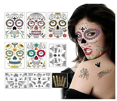8PCS Halloween Temporary Face Tattoos With 5PCS Colored Pens,Day Of The Dead Tem • 1£