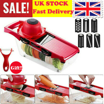 6 In 1 Mandolin Vegetable Food Slicer Julienne And Container - Peel Cut Slice • 6.69£