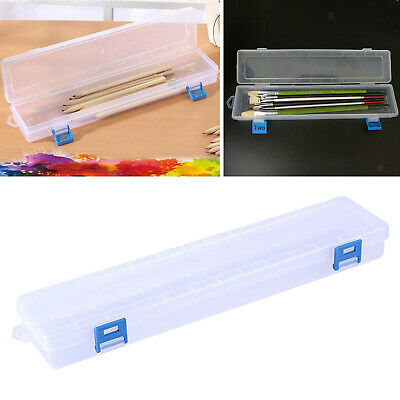 £4.50 • Buy Clear Plastic Paint Brush Storage Box Organziers Container Case For Pen Pencils
