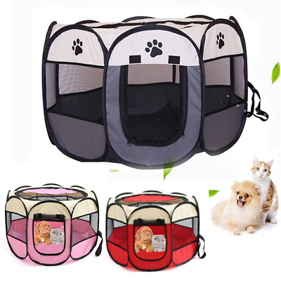 £15.99 • Buy Large Portable Pet Dog Cat Playpen Tent Oxford Fabric Fence Kennel Cage Crate UK