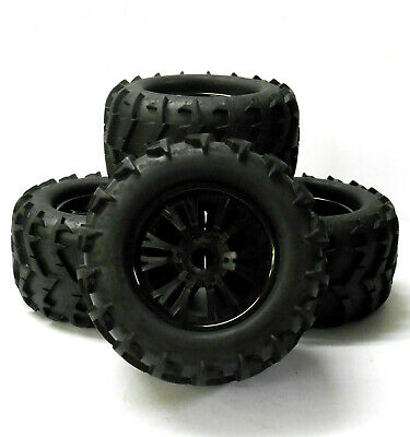 810006 1/8 Scale Off Road RC Monster Truck Dual Spoke Wheels And Tyres X 4 Black • 32.99£