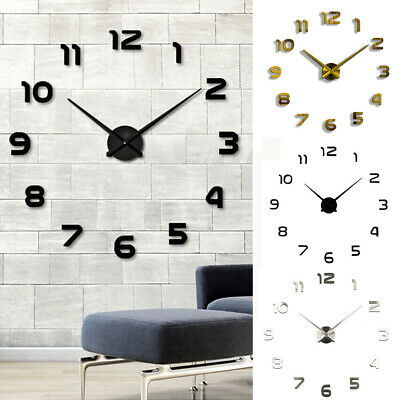 3D Stick-on Large Wall Clock DIY Number Sticker Surface Home Decor 3 Colors UK • 7.98£
