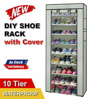 AU19.98 • Buy 10 Tier Shoes Cabinet Storage Organizer Shoe Rack Portable Wardrobe With Cover
