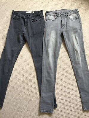 2 Pair Mens Grey Jeans, New Look, Ringspun, Size 30''w. 32'' L • 5£