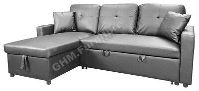 Fabric Corner Sofa Bed With Storage & Reversible Chaise - Grey • 429£