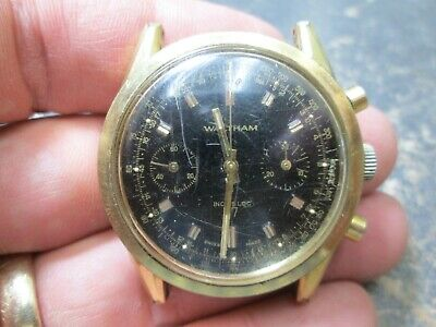 $ CDN120.25 • Buy Vintage WALTHAM Chronograph Running 2 Register Watch 17 Jewels BLACK DIAL