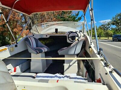 AU11500 • Buy Yalta 17.8 Feet Half Cabin Boat With 90HP Tohatsu Outboard Motor And Trailer.
