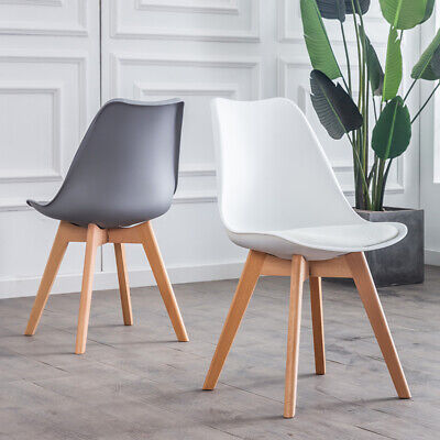 £69.99 • Buy 2/4/6 Kitchen Dining Chairs PU Seat Solid Wood Legs Home Lounge Restaurant