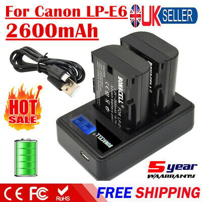 2X 2600mAh LP-E6 Battery + LCD Dual Charger For Canon EOS 5D Mark II 80D Camera • 17.49£