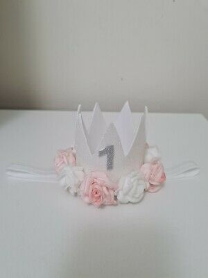 Baby Girl 1st Birthday Party Glitter Hat Princess Crown Elastic Stretchy Band • 5£