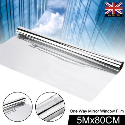 80CM One Way Mirror Privacy Tinting Reflective Tint Window Solar Film Silver 5M • 13.89£