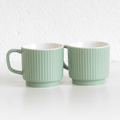 £10.99 • Buy Set Of 2 Sage Green Fine China Coffee Mugs 13oz Large 370ml Stackable Tea Cups
