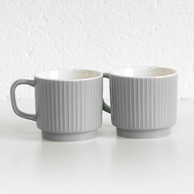 £10.99 • Buy Set Of 2 Grey Embossed Fine China Tea Coffee Cup Mugs 13oz Large 370ml Stackable