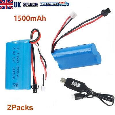 2S 7.4V 1500mAh Li-ion Battery 15C SM Plug With USB Charger For RC Car Boat Part • 19.90£