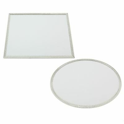 £9.99 • Buy 20cm Decorative Silver Mirrored Candle Tray   Centerpiece Vanity Perfume Tray