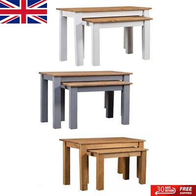 Nest Of Tables Oak Nest Of Tables Units Solid Pine Wood Living Room Units Panama • 51.39£