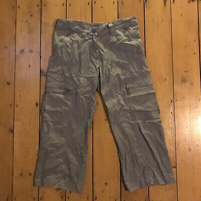 H&M Khaki Cropped Trousers Size 10 - Women's Cotton Casual Hiking Active Wear • 0.99£