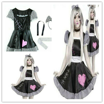 Halloween Broken Rag Doll Fancy Dress Costume Zombie Ghost Womens Cosplay Outfit • 9.98£