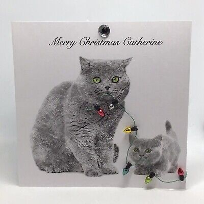 Personalised Christmas Card Handmade Cats Xmas Lights Design 2020 Family Friends • 3.95£