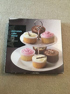 White Porcelain 2 Tier Cake Stand ( New In Box ) • 3.90£