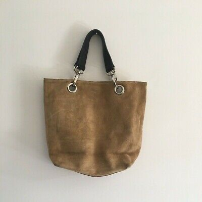 Hobbs Ladies Genuine Suede Leather Tote Bag Brown Tan Italy • 30£
