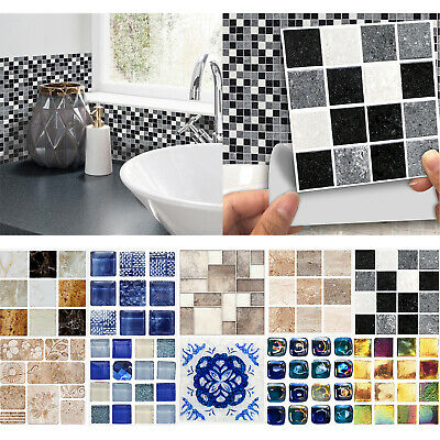 Kitchen Bathroom Tile Transfers Wall Stickers Vintage Retro Mosaic Self Adhesive • 6.49£